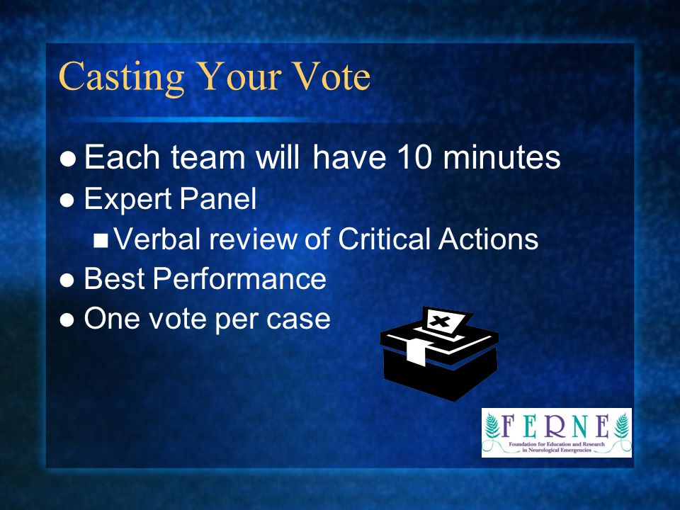 Casting Your Vote Each team will have 10 minutes Expert Panel Verbal review of Critical Actions Best Performance One vote per case