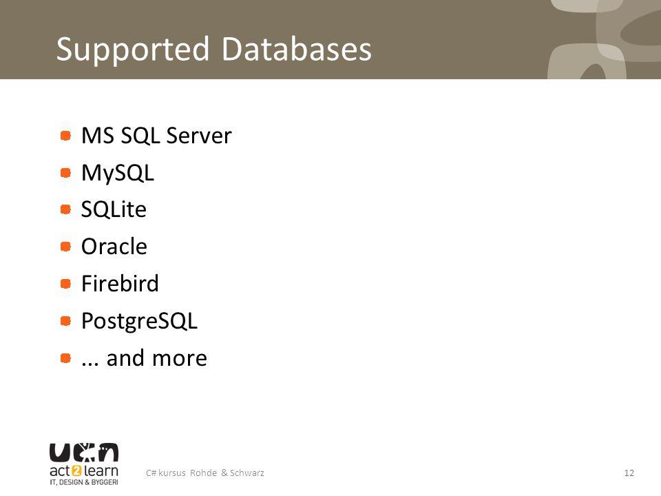 Supported Databases MS SQL Server MySQL SQLite Oracle Firebird PostgreSQL... and more C# kursus Rohde & Schwarz12