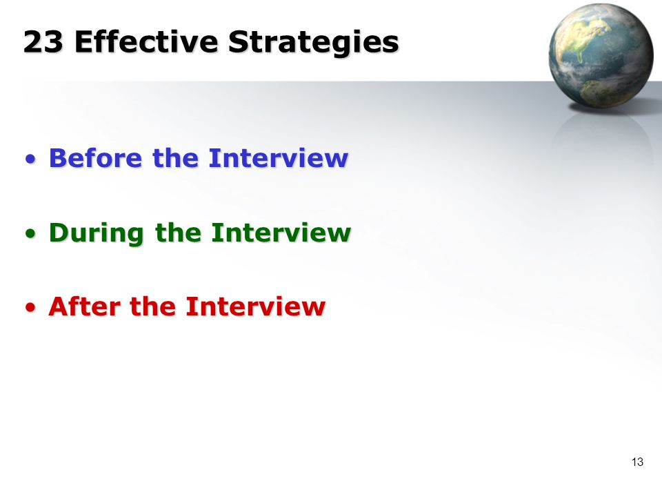 13 23 Effective Strategies Before the InterviewBefore the Interview During the InterviewDuring the Interview After the InterviewAfter the Interview