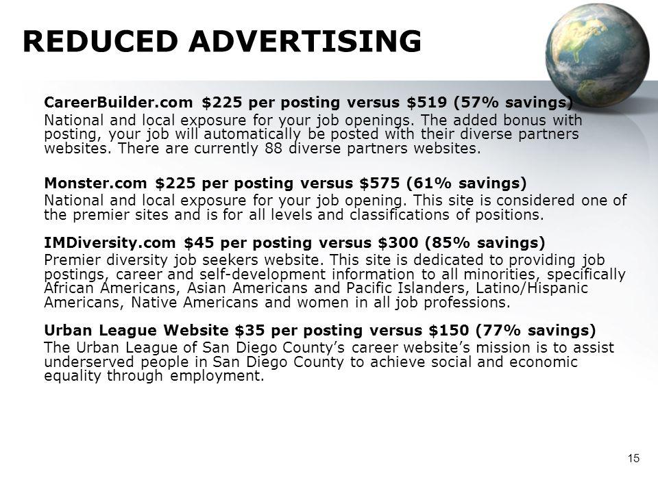 15 REDUCED ADVERTISING CareerBuilder.com $225 per posting versus $519 (57% savings) National and local exposure for your job openings. The added bonus
