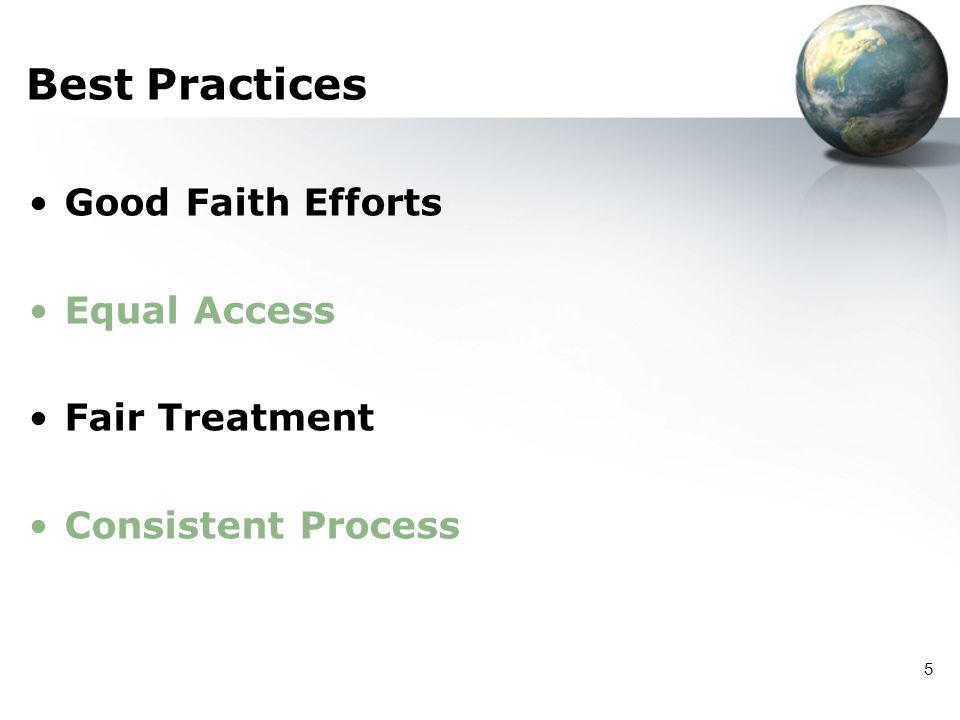 5 Best Practices Good Faith Efforts Equal Access Fair Treatment Consistent Process