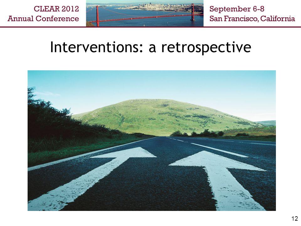 Interventions: a retrospective 12