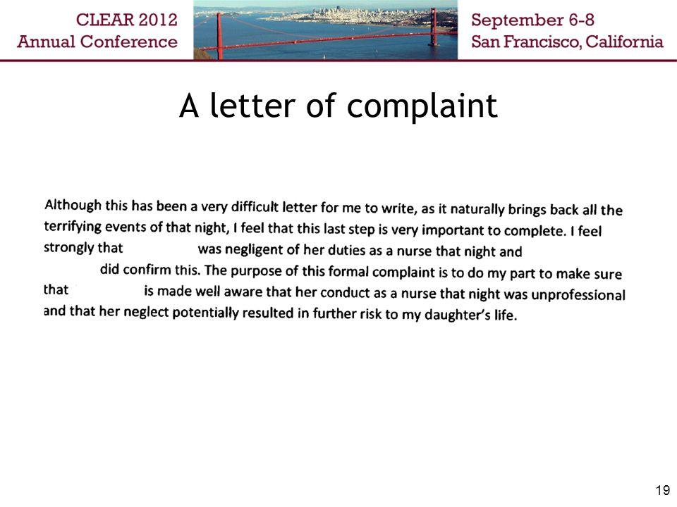 A letter of complaint 19
