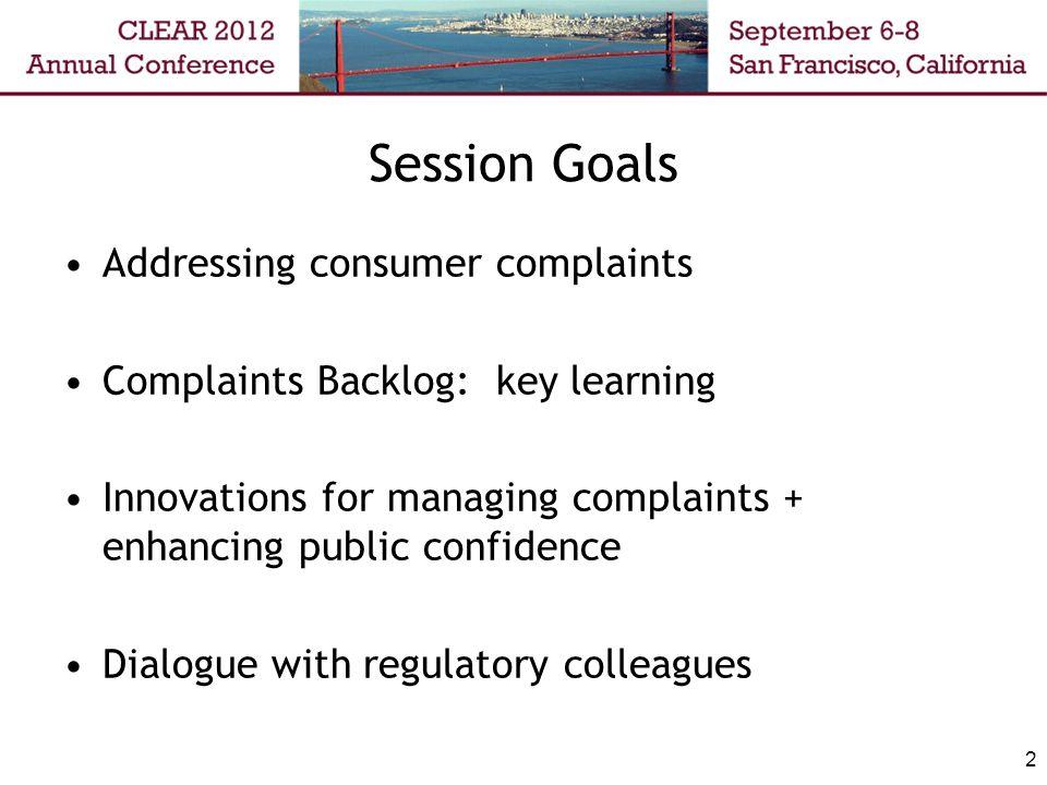 Session Goals Addressing consumer complaints Complaints Backlog: key learning Innovations for managing complaints + enhancing public confidence Dialog