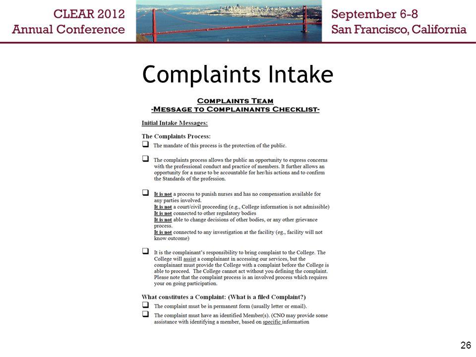 Complaints Intake 26