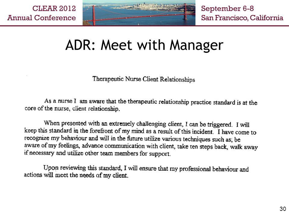 ADR: Meet with Manager 30