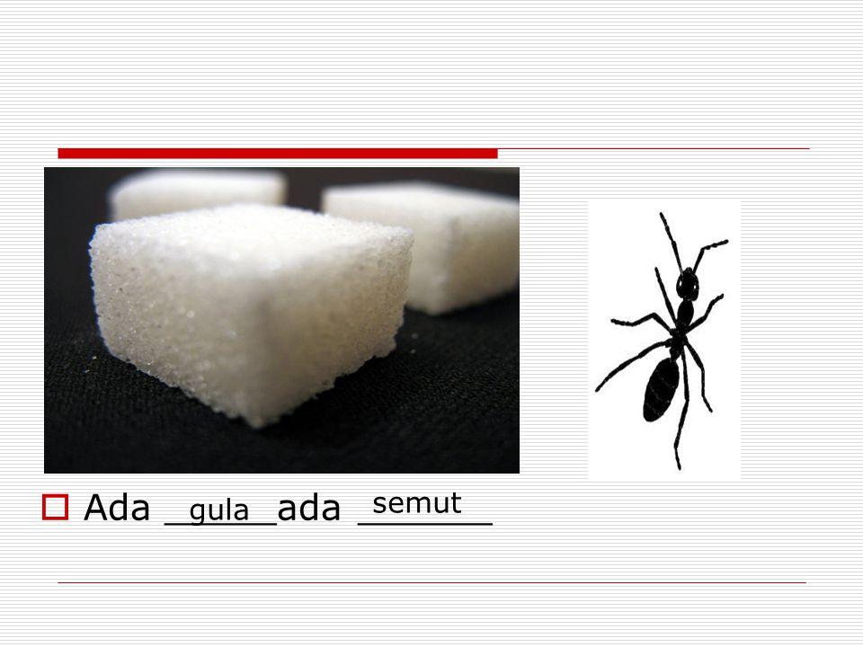  Ada _____ada ______ gula semut