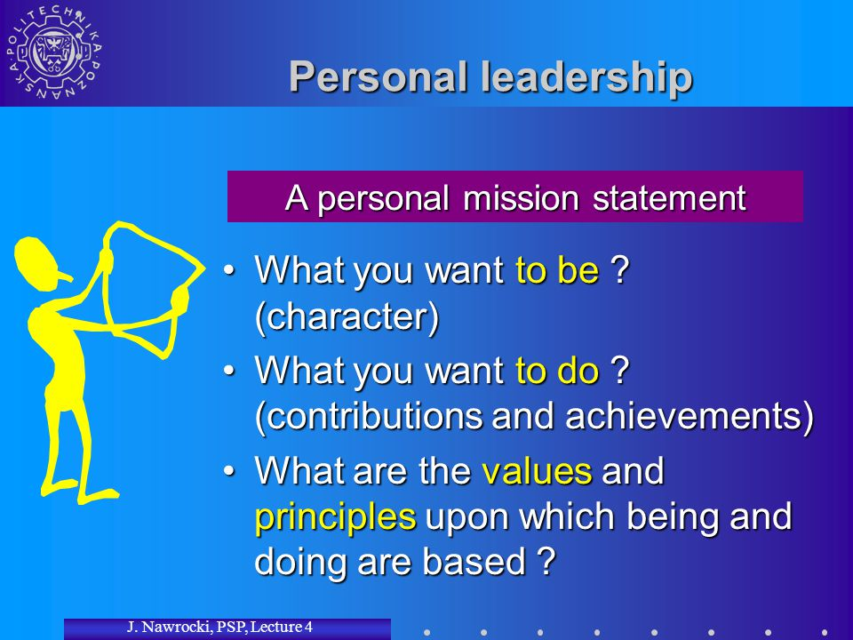 J. Nawrocki, PSP, Lecture 4 Personal leadership What you want to be ? (character)What you want to be ? (character) What you want to do ? (contribution