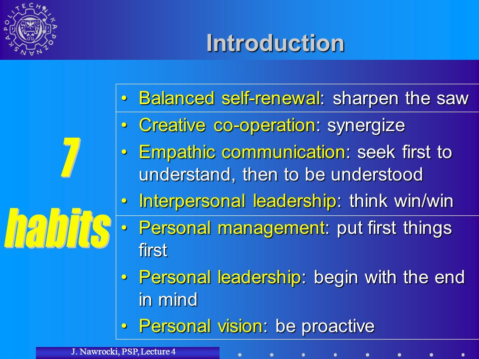 J. Nawrocki, PSP, Lecture 4 Introduction Balanced self-renewal: sharpen the sawBalanced self-renewal: sharpen the saw Creative co-operation: synergize
