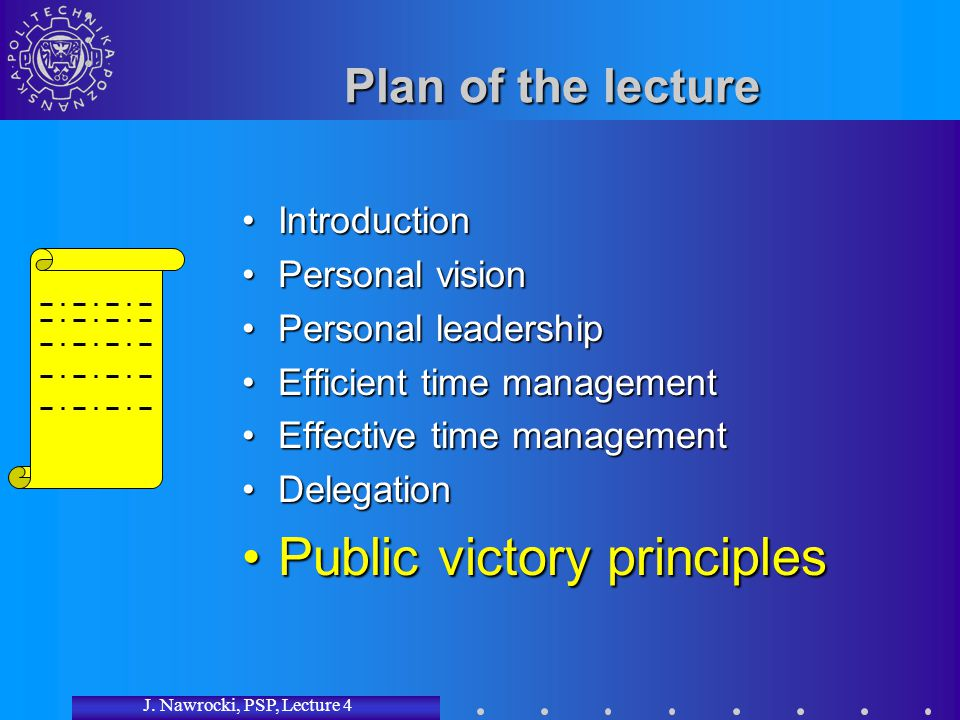 J. Nawrocki, PSP, Lecture 4 Plan of the lecture IntroductionIntroduction Personal visionPersonal vision Personal leadershipPersonal leadership Efficie
