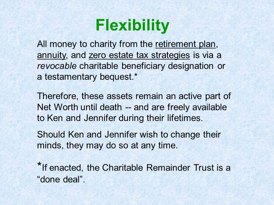 "* If enacted, the Charitable Remainder Trust is a ""done deal"". All money to charity from the retirement plan, annuity, and zero estate tax strategies"
