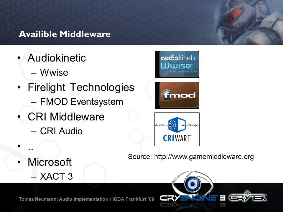 Availible Middleware Tomas Neumann: Audio Implementation / IGDA Frankfurt ´09 Audiokinetic –Wwise Firelight Technologies –FMOD Eventsystem CRI Middleware –CRI Audio..