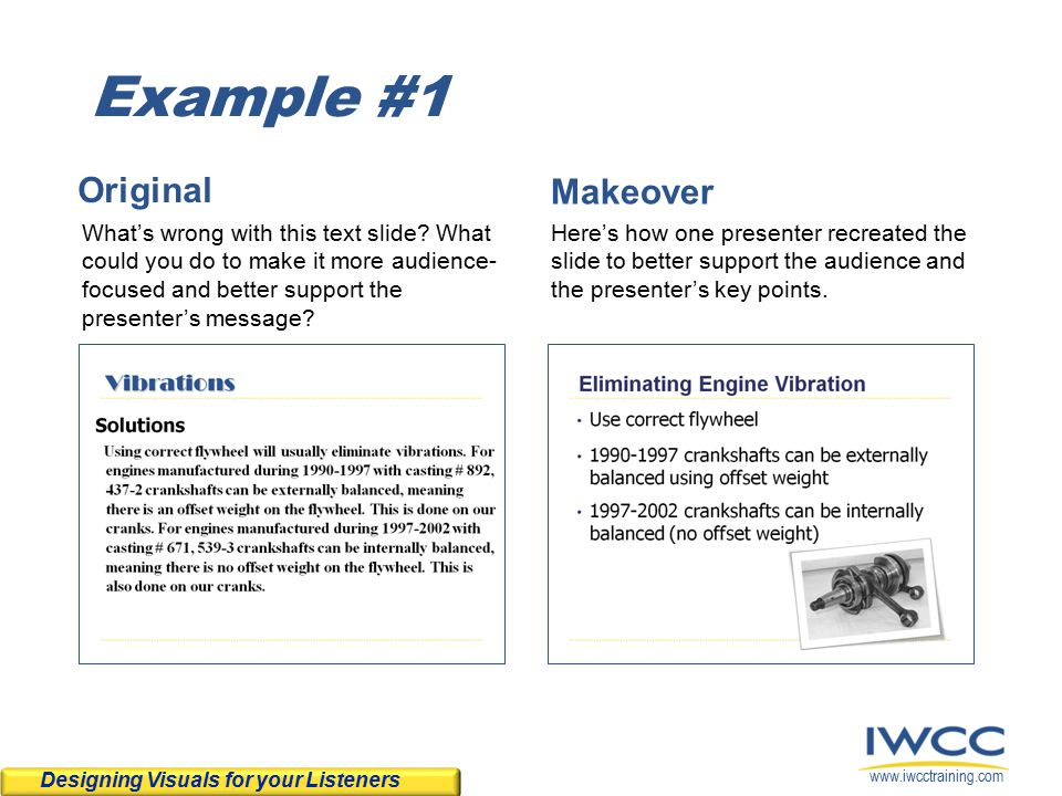 www.iwcctraining.com Example #1 Original What's wrong with this text slide.