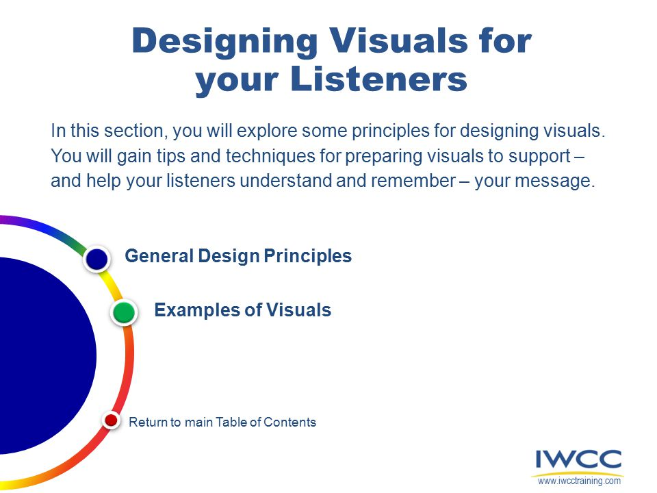 Designing Visuals for your Listeners In this section, you will explore some principles for designing visuals.