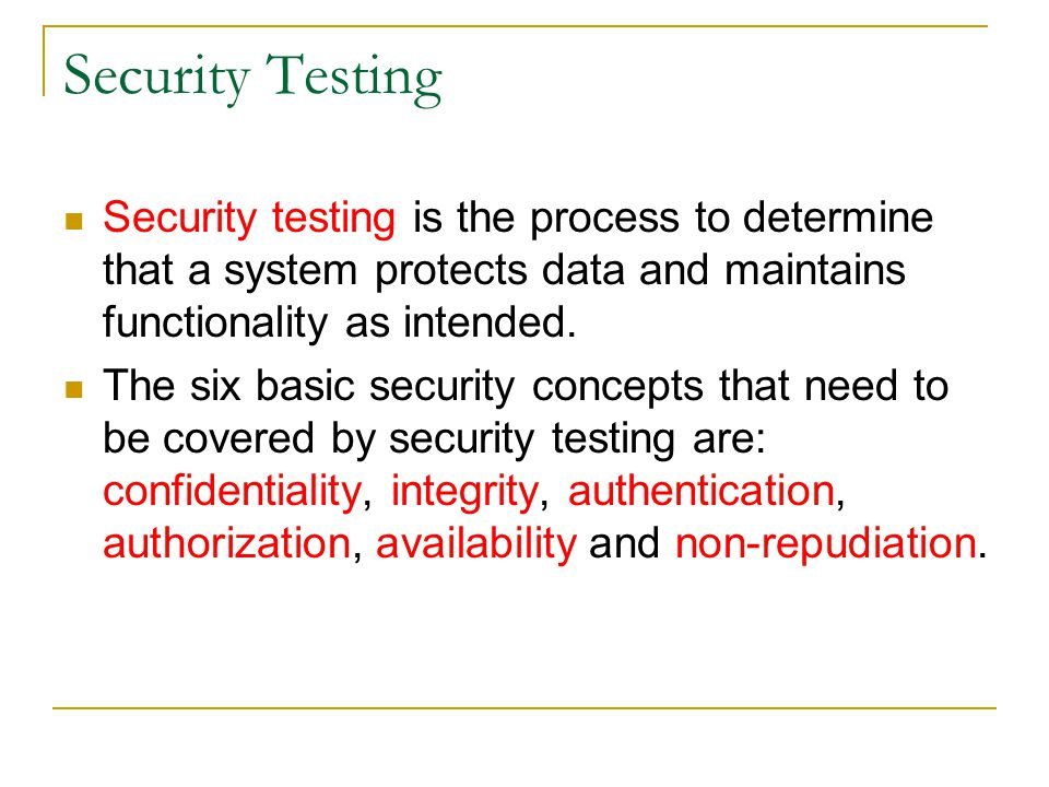 Security Testing Security testing is the process to determine that a system protects data and maintains functionality as intended. The six basic secur