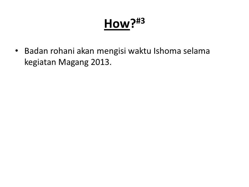 Badan rohani akan mengisi waktu Ishoma selama kegiatan Magang 2013. How #3