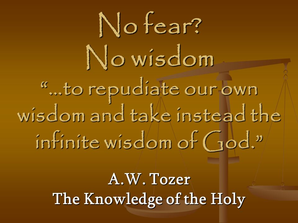 """No fear? No wisdom """"…to repudiate our own wisdom and take instead the infinite wisdom of God."""" A.W. Tozer The Knowledge of the Holy"""