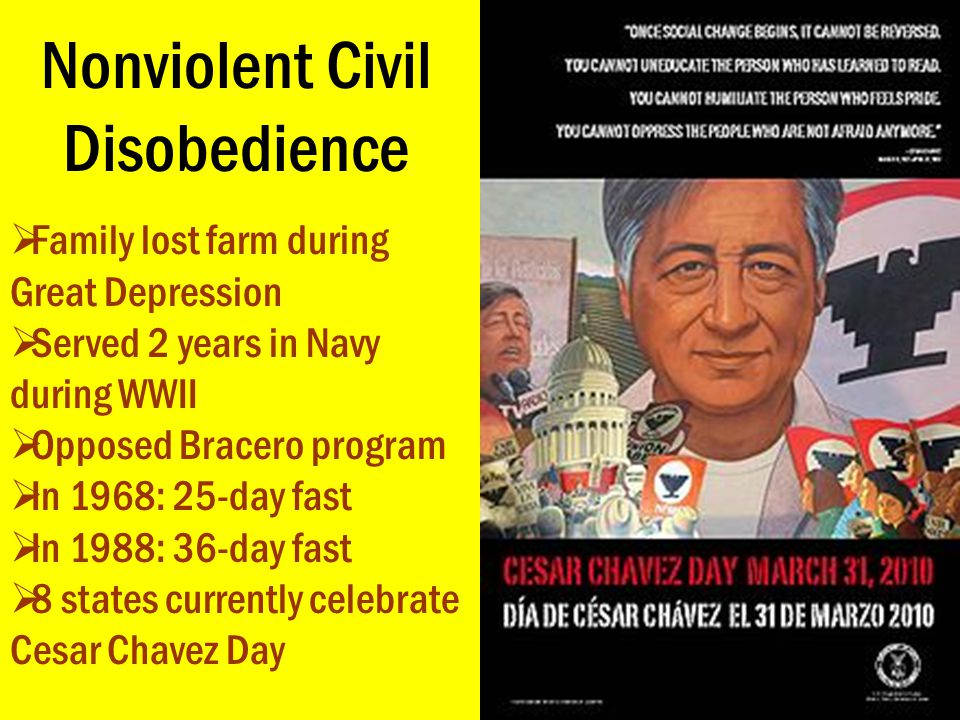 Nonviolent Civil Disobedience  Family lost farm during Great Depression  Served 2 years in Navy during WWII  Opposed Bracero program  In 1968: 25-
