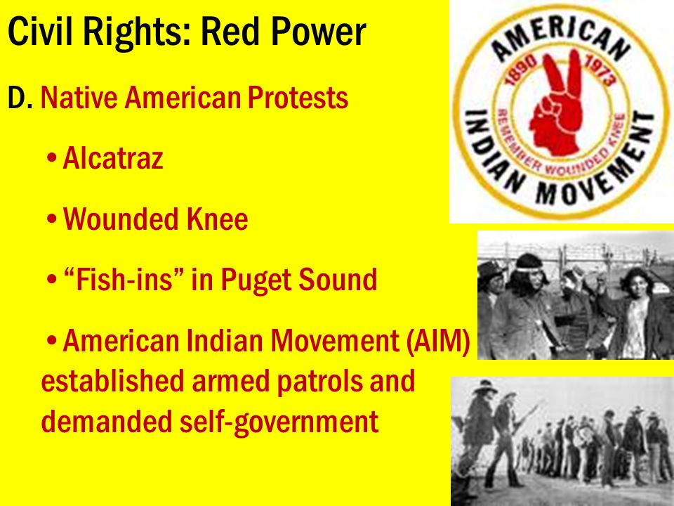 """Civil Rights: Red Power D. Native American Protests Alcatraz Wounded Knee """"Fish-ins"""" in Puget Sound American Indian Movement (AIM) established armed p"""