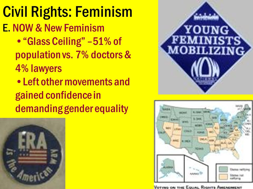 """Civil Rights: Feminism E. NOW & New Feminism """"Glass Ceiling"""" –51% of population vs. 7% doctors & 4% lawyers Left other movements and gained confidence"""