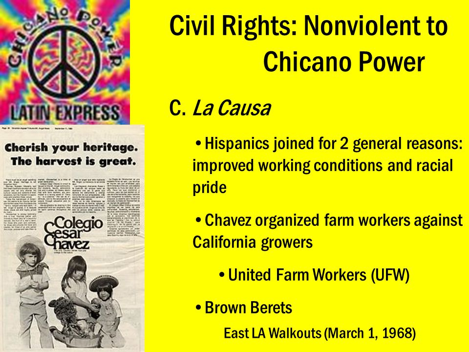 Civil Rights: Nonviolent to Chicano Power C. La Causa Hispanics joined for 2 general reasons: improved working conditions and racial pride Chavez orga