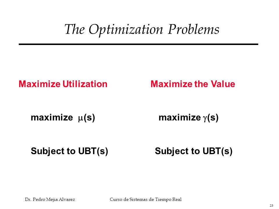23 Dr. Pedro Mejia Alvarez Curso de Sistemas de Tiempo Real The Optimization Problems Maximize Utilization Maximize the Value maximize  (s) maximize