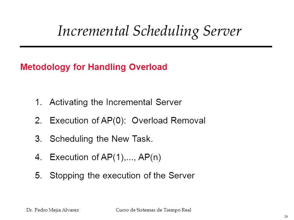 26 Dr. Pedro Mejia Alvarez Curso de Sistemas de Tiempo Real Incremental Scheduling Server Metodology for Handling Overload 1.Activating the Incrementa