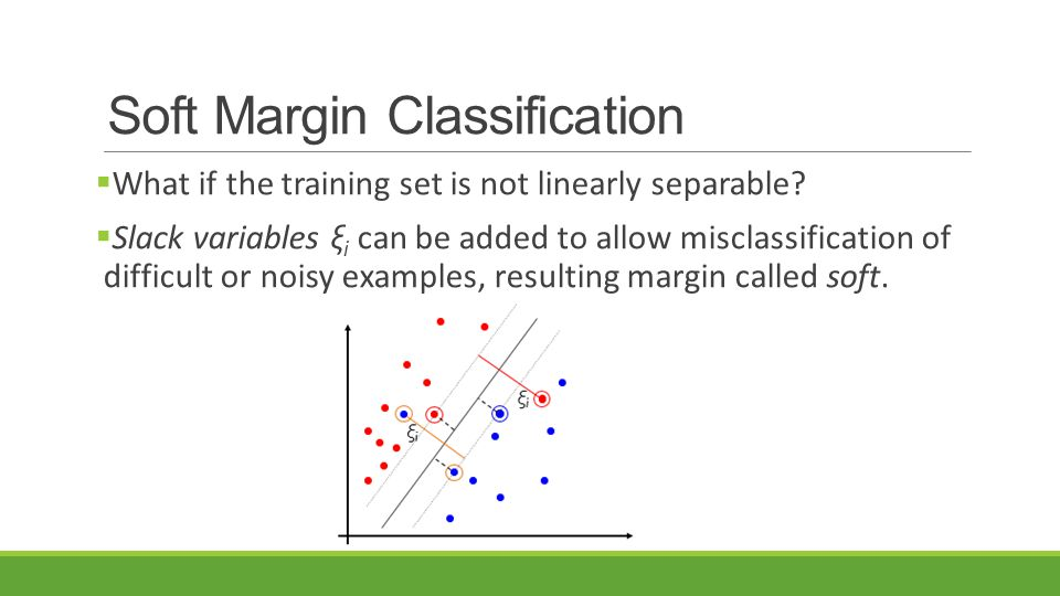 Soft Margin Classification  What if the training set is not linearly separable?  Slack variables ξ i can be added to allow misclassification of diff