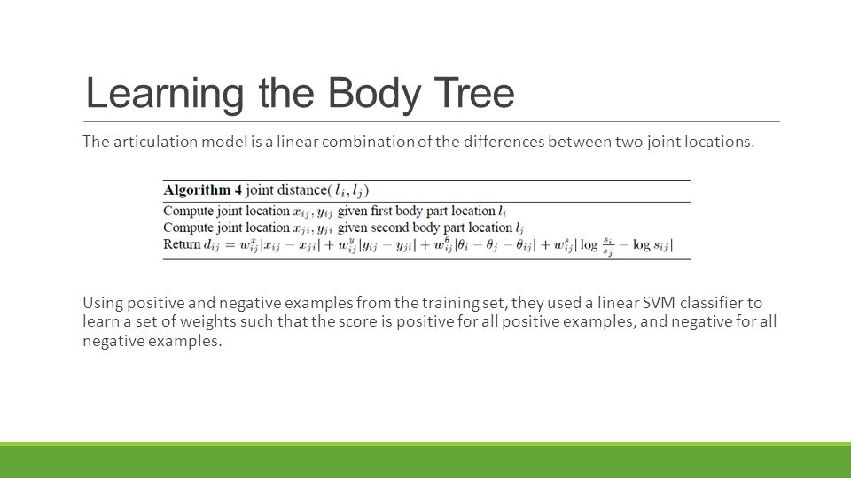 Learning the Body Tree The articulation model is a linear combination of the differences between two joint locations. Using positive and negative exam
