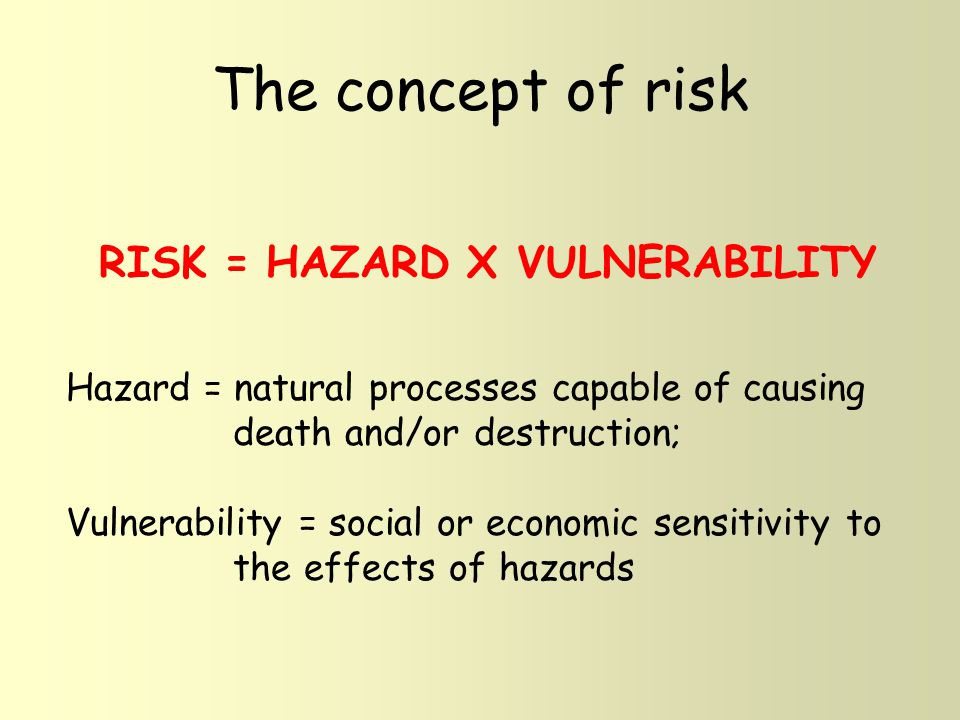 Calculating risk Example 1: same hazard; contrasting vulnerabilities Magnitude 6.5 earthquake in south-central California, on Dec.