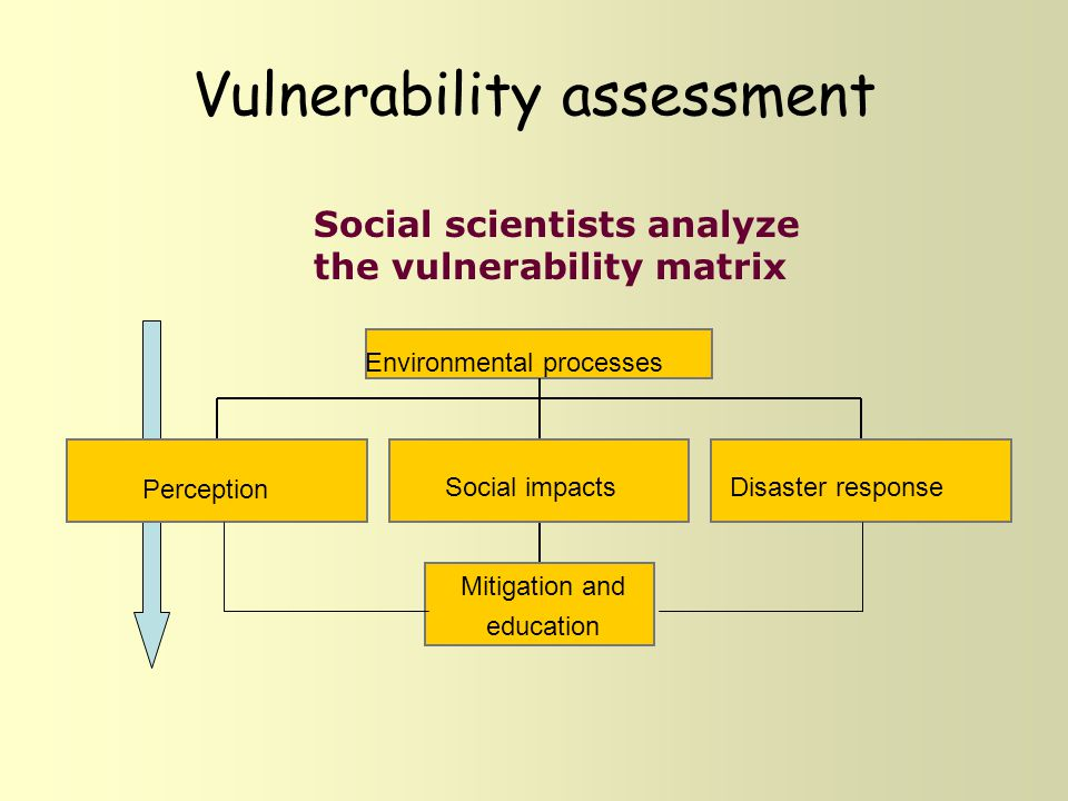 Vulnerability assessment Social scientists analyze the vulnerability matrix Environmental processes Perception Social impacts Mitigation and education Disaster response