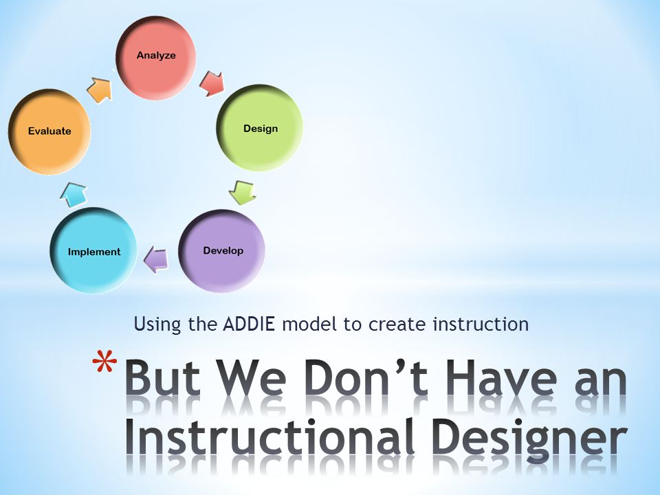 Using the ADDIE model to create instruction