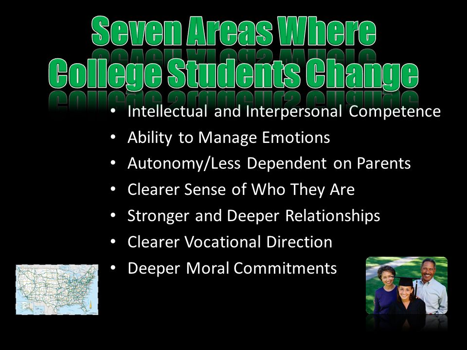 Intellectual and Interpersonal Competence Ability to Manage Emotions Autonomy/Less Dependent on Parents Clearer Sense of Who They Are Stronger and Deeper Relationships Clearer Vocational Direction Deeper Moral Commitments
