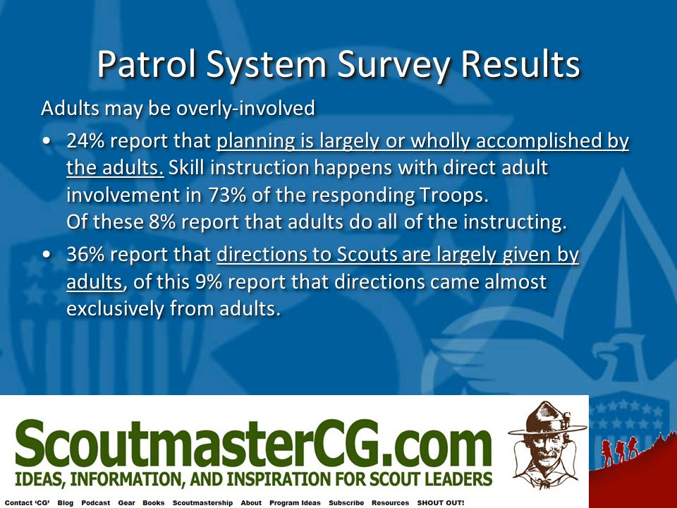 Patrol System Survey Results Adults may be overly-involved 24% report that planning is largely or wholly accomplished by the adults.