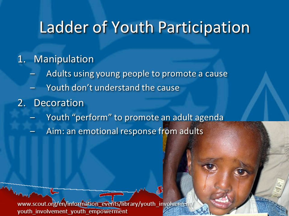 Ladder of Youth Participation 1.Manipulation –Adults using young people to promote a cause –Youth don't understand the cause 2.Decoration –Youth perform to promote an adult agenda –Aim: an emotional response from adults   youth_involvement_youth_empowerment 1.Manipulation –Adults using young people to promote a cause –Youth don't understand the cause 2.Decoration –Youth perform to promote an adult agenda –Aim: an emotional response from adults   youth_involvement_youth_empowerment