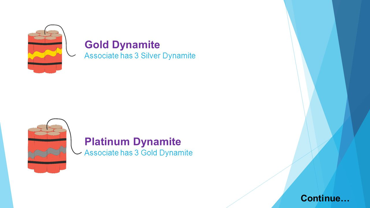 Gold Dynamite Associate has 3 Silver Dynamite Platinum Dynamite Associate has 3 Gold Dynamite Continue…