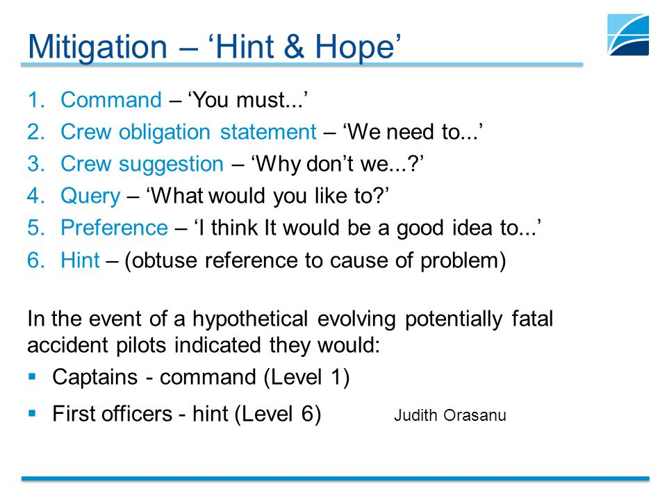Mitigation – 'Hint & Hope' 1.Command – 'You must...' 2.Crew obligation statement – 'We need to...' 3.Crew suggestion – 'Why don't we...?' 4.Query – 'What would you like to?' 5.Preference – 'I think It would be a good idea to...' 6.Hint – (obtuse reference to cause of problem) In the event of a hypothetical evolving potentially fatal accident pilots indicated they would:  Captains - command (Level 1)  First officers - hint (Level 6) Judith Orasanu