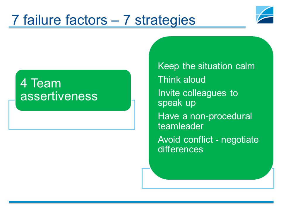 7 failure factors – 7 strategies 4 Team assertiveness Keep the situation calm Think aloud Invite colleagues to speak up Have a non-procedural teamlead