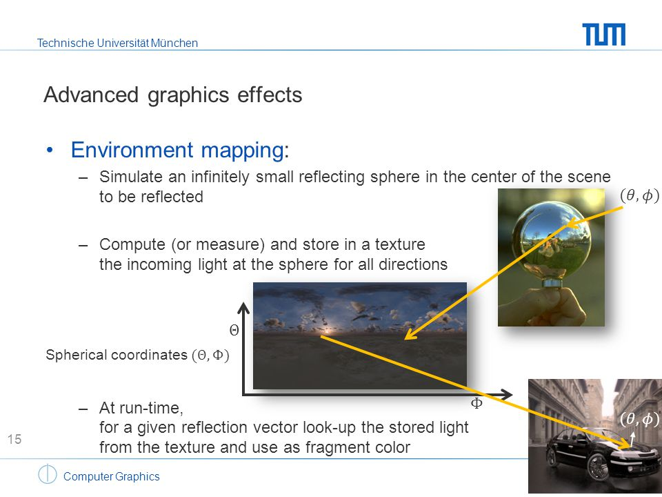 Technische Universität München Computer Graphics Advanced graphics effects Environment mapping: –Simulate an infinitely small reflecting sphere in the