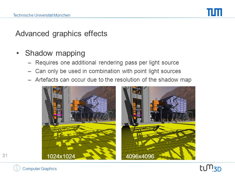 Technische Universität München Computer Graphics Advanced graphics effects Shadow mapping –Requires one additional rendering pass per light source –Ca