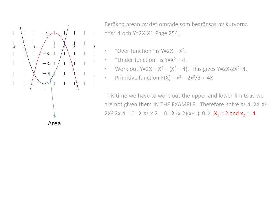 Beräkna arean av det område som begränsas av kurvorna Y=X 2 -4 och Y=2X-X 2.