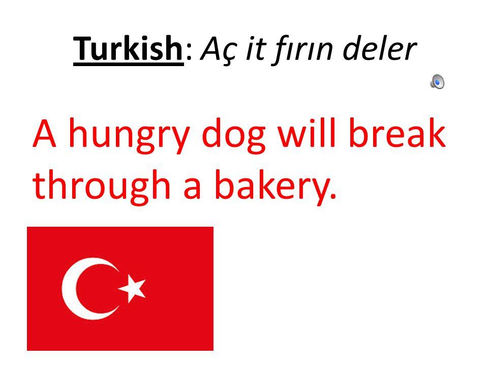 Turkish: Aç it fırın deler A hungry dog will break through a bakery.