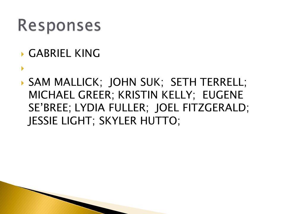  GABRIEL KING   SAM MALLICK; JOHN SUK; SETH TERRELL; MICHAEL GREER; KRISTIN KELLY; EUGENE SE'BREE; LYDIA FULLER; JOEL FITZGERALD; JESSIE LIGHT; SKYLER HUTTO;