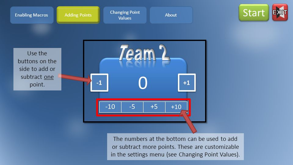 STEP1.To change the points value, click on the Settings icon.