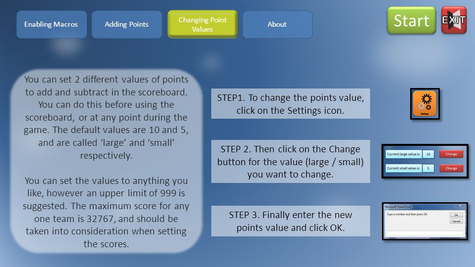 STEP1. To change the points value, click on the Settings icon.