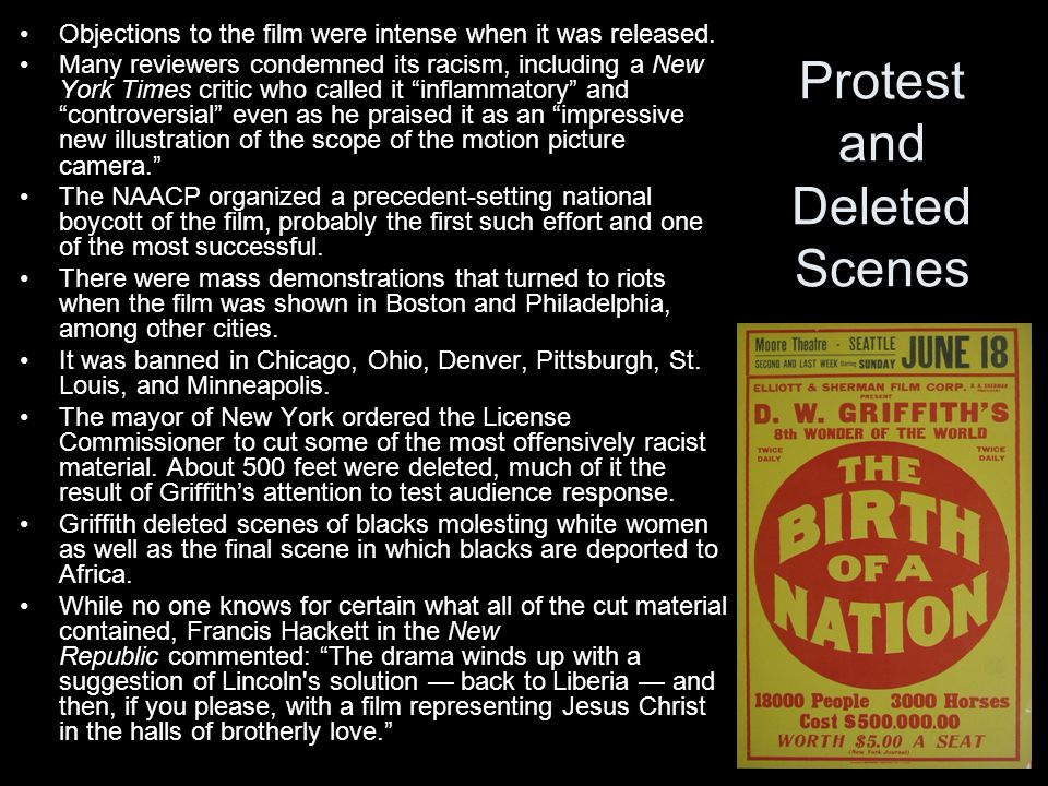 Protest and Deleted Scenes Objections to the film were intense when it was released.