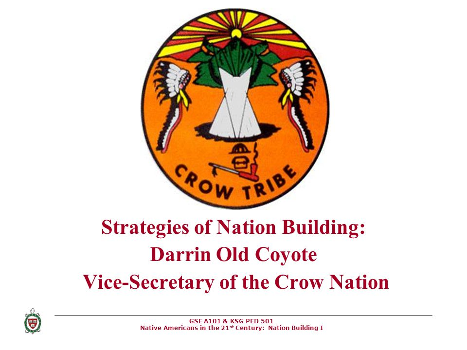 GSE A101 & KSG PED 501 Native Americans in the 21 st Century: Nation Building I Strategies of Nation Building: Darrin Old Coyote Vice-Secretary of the
