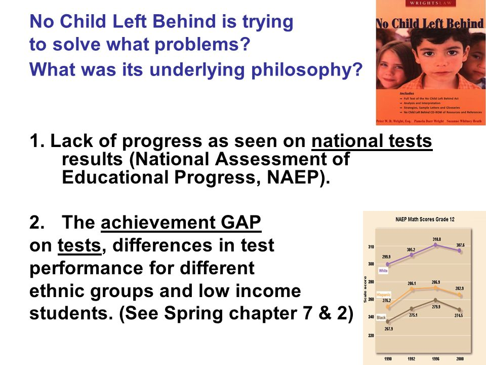 No Child Left Behind is trying to solve what problems.
