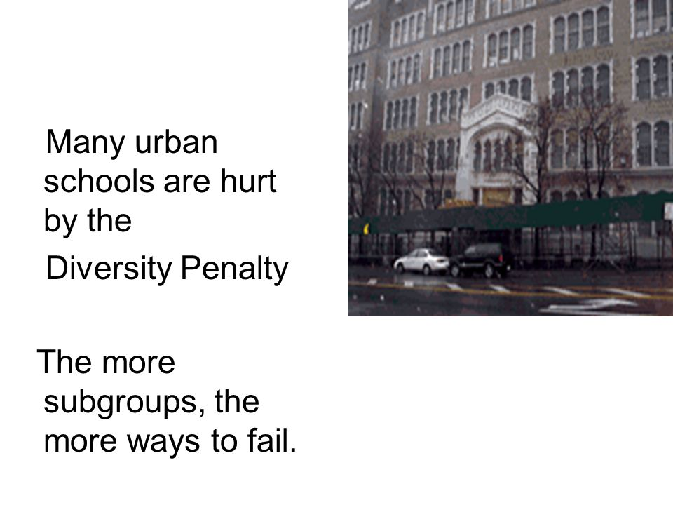 Many urban schools are hurt by the Diversity Penalty The more subgroups, the more ways to fail.
