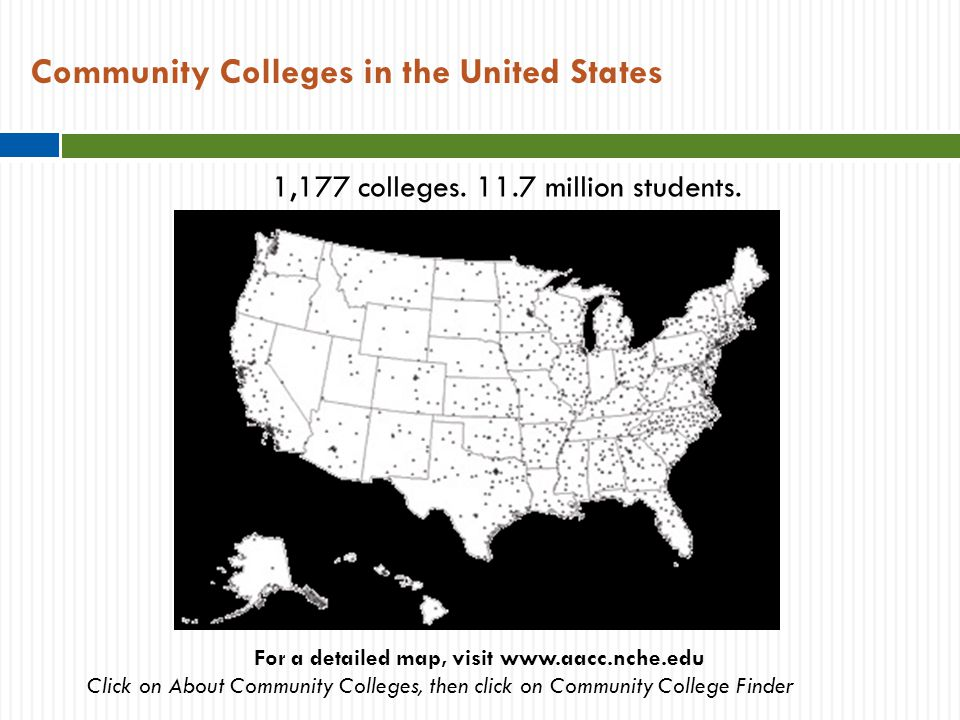 Community Colleges in the United States For a detailed map, visit www.aacc.nche.edu Click on About Community Colleges, then click on Community College Finder 1,177 colleges.